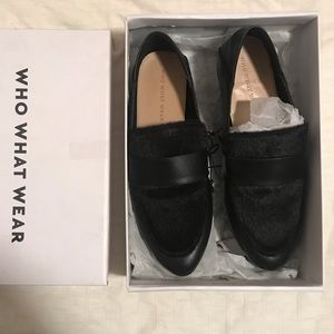 WHO WHAT WEAR Black Loafers with fur top